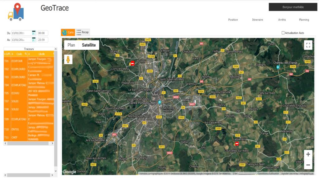 Geotrace : géolocalisation de vos véhicules en temps réel sur une carte interactive