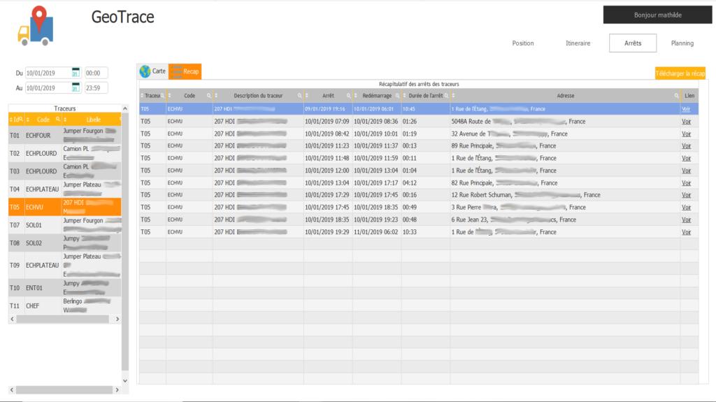 Application GeoTrace : Liste des arrêts pendant la journée de travail d'un véhicule grâce à un traceur GPS