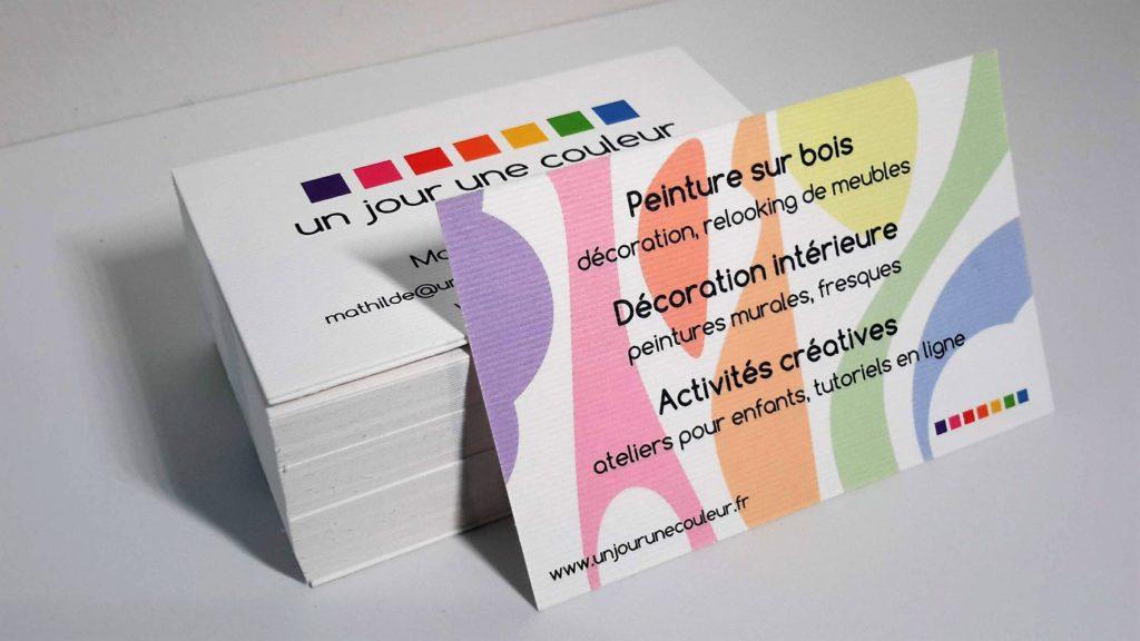 Réalisation de cartes de visite sur papier gaufré