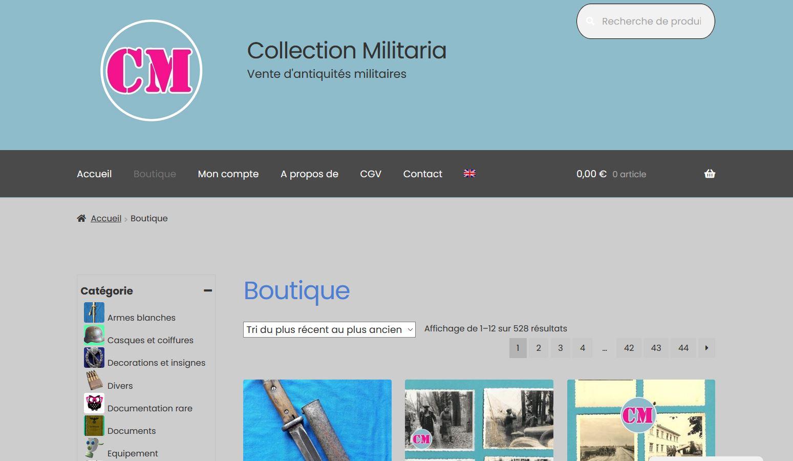 Refonte d'un site de vente en ligne d'antiquités militaires